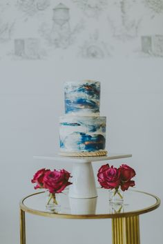 Blue + White Water Color Cake
