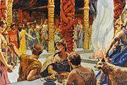 Valhall der valkyrier serverer einherjer og Odin sitter på trona flankert av en av ulvene sine. Illustrasjon av Emil Doepler (1855–1922) i Walhall, die Götterwelt der Germanen utgitt ca. 1905