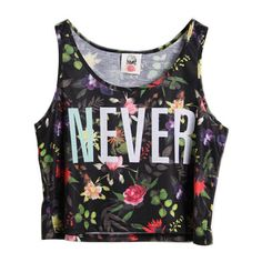 Chicnova Fashion Flower And Letter Print Sleeveless Short Tank ($20) ❤ liked on Polyvore featuring tops, shirts, crop tops, tank tops, short shirts, sleeveless crop top, sleeveless tank tops, floral tank top and flower shirt