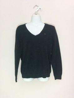 Tommy Hilfiger black v-neck long sleeve sweater, Large, #3795 #TommyHilfiger #VNeck