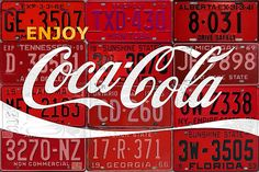 Coca Cola Enjoy Soft Drink Soda Pop Beverage Vintage Logo Recycled License Plate Art Mixed Media by Design Turnpike Coca Cola Merchandise, Christmas Tree Store, Coca Cola Vintage, License Plate Art, Healthy Meals For Two, Thing 1, Decoration, Fine Art America, Root Beer