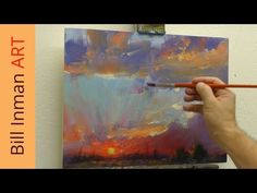 Free Oil Painting Lesson - Painting a Sunset with Mountains - Muncie, Indiana - YouTube