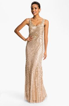 Aidan+Mattox+Sequin+V-Back+Mesh+Gown+(Online+Only)+available+at+#Nordstrom