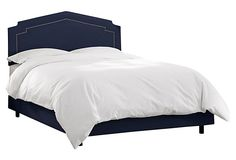 Grace Upholstered Nail-Trim Bed, Navy on OneKingsLane.com