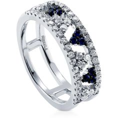 BERRICLE Sterling Silver CZ Art Deco Fashion Right Hand Statement Ring ($40) ❤ liked on Polyvore featuring jewelry, rings, blue, women's accessories, cubic zirconia rings, sterling silver cocktail rings, cz band ring, cz rings and sterling silver cubic zirconia rings