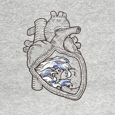 Check out this awesome 'Ocean+Heart' design on Anatomical Heart Tattoos, Anatomical Heart Drawing, Ocean Drawing, Wave Drawing, Heart Wave, Ocean Heart, Heart Doodle, Herz Tattoo, Ink Doodles