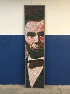 The Essential Abraham Lincoln - His Likeness created With Thumbtacks On A Room Divider Panel | Screenflex Portable Partitions
