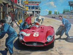 Stirling Moss and his Maserati 300 S during a pit stop at the 1000 Km Race 1956 – Painting by Nicolas Watts