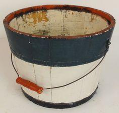 primitive Patriotic painted wooden bucket...