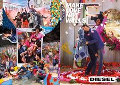 """Campaign for equality and diversity #MakeLoveNotWalls by David LaChapelle for Diesel. The campaign is about using one's voice to create a """"society we all want to live in, and the future we all deserve,""""...  fig.: 'Wedding Gay' by David LaChapelle for the Diesel #MakeLoveNotWalls campaign SS2017. The photographer, artist created all photographs, collages and the campaign video. Artist Stefan Meier contributed the illustrations for the collages."""
