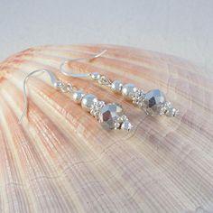 Silver crystal earrings - beaded drop earrings - silver bead dangle earrings - wedding jewelry - gift for her #beadedjewelry