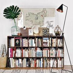 11 ways #designers style their bookshelves. (Link in our bio)! This one was designed by Morgane Sezalory of Sézane. #SOdomino #shelfie #interiorinspo #bookshelf