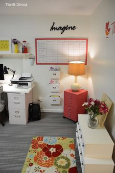 """The ultimate basement home office makeover - Tons of """"BEFORE"""" and """"AFTER"""" photos! - Nearly everything came from the thrift store!"""