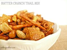 With all of this talk of hiking, backpacking and so forth (I really think it's all I've been talking about for the past week — I'm so sorry if this is boring to you), I found it fitting to share a trail mix recipe. Trail mix can get boring; Finger Food Appetizers, Finger Foods, Chex Mix Muddy Buddies, Trail Mix Recipes, Rustic Christmas, Butter, Gluten Free, Cooking Recipes, Happy Trails