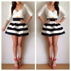 Crossed Shirt and Striped Flowwy Skirt