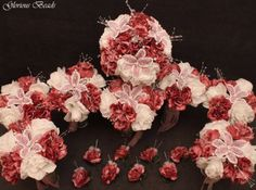 Pink-Mauve-BEADED-Flower-Quinceanera-Wedding-Bouquet-16-PC-Set-FREE-BOUTONNIERES