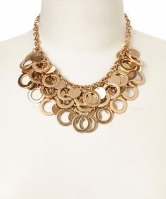 Look what I found on #zulily! Gold Circle Disk Bib Necklace #zulilyfinds