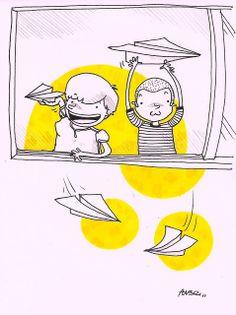 Dibujos en un cuaderno: Aviones de papel/Paper planes