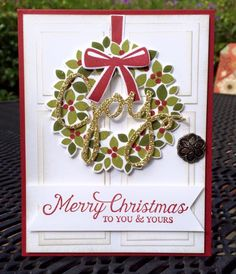 Krystal's Cards: Stampin' Up! Wondrous Wreath Merry Christmas