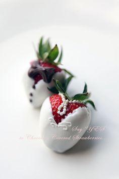 Sugar Coated Kitchen | Chocolate Covered Strawberries - Wedding Dress & Tuxedo