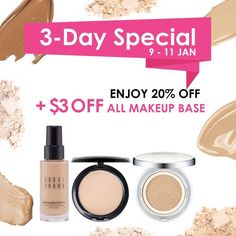 New year = new makeup! Find your perfect base from liquid foundation, compact powder to cushion at BeautyFresh with an additional $3 OFF from 9 - 11 Jan. Enjoy 20% + $3 OFF! What's better than this?  https://www.beautyfresh.com/category/makeup/face  #BeautyFreshFave #Beauty #Makeup #MakeupBase #Foundation #Chanel #BobbiBrown #MAC #NARS #Sulwhasoo