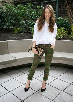 outfit of the day // crisp and casual camo pants + white shirt