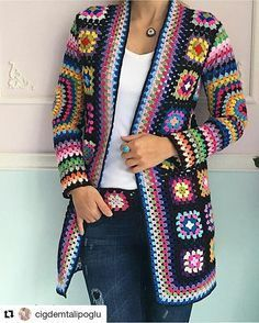 Granny Square jacket, anyone? Sure does help to be thin and fashionable...
