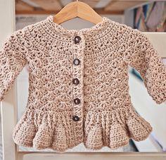 Crochet PATTERN Soft Wool Peplum Cardigan sizes von monpetitviolon