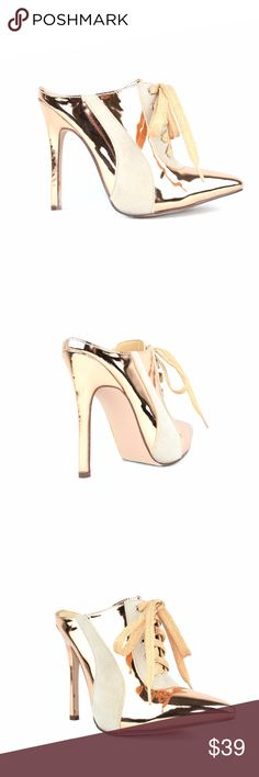 "Chase & Chloe Rose Gold Pointy Toe Women's Shoetie Synthetic Imported Synthetic sole Platform measures approximately .25"" Pointy Toe Lace Up Closure Women's Heeled Sandal Slim Heel Approx. 3.5"" Heel, 4.0"" Shaft Circumference Chase & Chloe Shoes Heels"