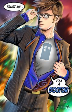 10th Doctor :) :) :) (swimmingpoolinthelibrary:  allons-y:  Tenth doctor - david tennant fan artLink)