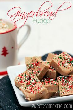 This quick and easy gingerbread fudge recipe is perfectly spiced and festive. You'll love how rich, creamy and crunchy this fudge is thanks to the festive Christmas sprinkles. Christmas Fudge, Christmas Sprinkles, Christmas Sweets, Christmas Candy, Christmas Gingerbread, Christmas Presents, Fudge Recipes, Candy Recipes, Dessert Recipes