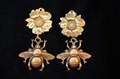 Joseff Hollywood Flower & Bee Earrings