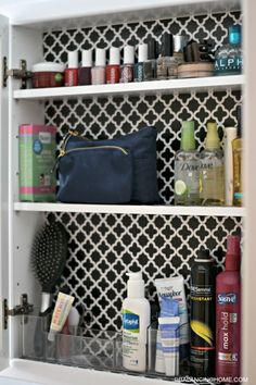 I love this idea for the inside of a bathroom cabinet! cleaning-organizing-bathroom-with-pedestal-sink-medicine-cabinet