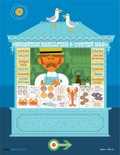5bdfcca5c1e Sean Sims - New Brighton Line print - Seafood   Oyster Bar