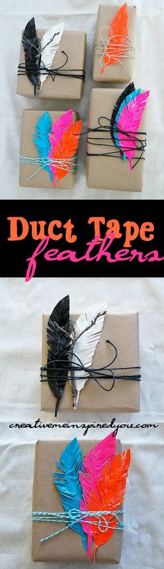 http://creativemeinspiredyou.com/duct-tape-feathers/ I can't believe this is duct tape, what cool gift toppers!