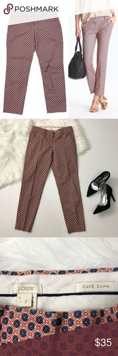 [J. Crew] Cafe Capri in Foulard Print Dress Pant 2 [J. Crew] Cafe Capri in Foulard Print Dress Pant  Condition: Excellent, like new.  Sizing and fit: Tapered Capri crop pant sits at hips. Size 2. Red and navy medallion / foulard print career pants.  Item 71680  ✨Reasonable offers considered. Feel free to check out my closet to save on bundles ✨ J. Crew Pants Ankle & Cropped