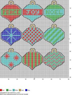 Plastic Canvas pattern: Christmas Ornaments