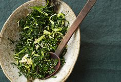 This is delicious served warm - I use the dressing to wilt the kale in the skillet over low/med heat.