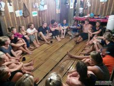 Everyone gathers for an introductory meeting in a kampung (village) house for their overnight stay during their Salt Trails jungle trek activity :)