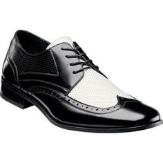 $75, Whitby 24809 Blackwhite Leather Lace Up Shoes by Stacy Adams. Sold by Shoebuy. Click for more info: http://lookastic.com/men/shop_items/116000/redirect
