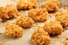 Love chicken nuggets but hate what they do to your waistline? We& got your solution: Five tasty chicken nugget recipes that are as guilt-free as it gets. Cornflake Recipes, A Food, Food And Drink, Les Croquettes, Chicken Nugget Recipes, Nuggets Recipe, Olives, Food Processor Recipes, Food To Make