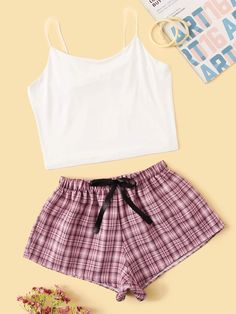 To find out about the Cami Top & Plaid Shorts PJ Set at SHEIN, part of our latest Pajama Sets ready to shop online today! Cute Lazy Outfits, Teenage Girl Outfits, Teen Fashion Outfits, Cute Fashion, Trendy Outfits, Fashion Women, Cute Pajama Sets, Cute Pajamas, Cute Sleepwear
