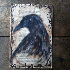 Crow The Listener Painted Page Painting Folk Art Outsider Original A. Gambrel