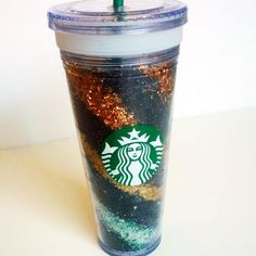 Glitter water bottle- stripes and spray adhesive