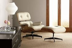 eames lounge in creamy leather and rosewood