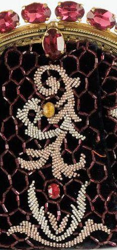 Hattie Carnegie - Pochette de Soirée - Velours, Perles et Cabochons - Vintage