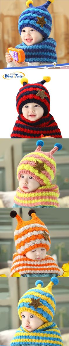 Apparel Accessories 2017 Winter Children Skullies Beanies Scarf Hat Sets Baby Boys Girls Knitted kids Hats Caps With Pompoms