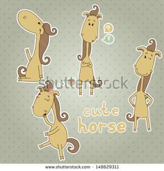 10b3b868e99ea Stickers with cute horse Cartoon animal Funny vector set Eps 10