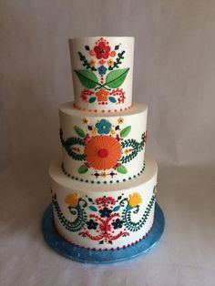 Wedding Cake | Mexican Inspired Embroidery | Colorful | buttercream | fondant appliques | piping Cake decorating ideas