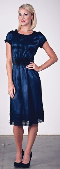 Modest Dresses: Blue & Black Satin Dress $59.99 http://www.jenclothing.com/mi-8010-midnightblue.html